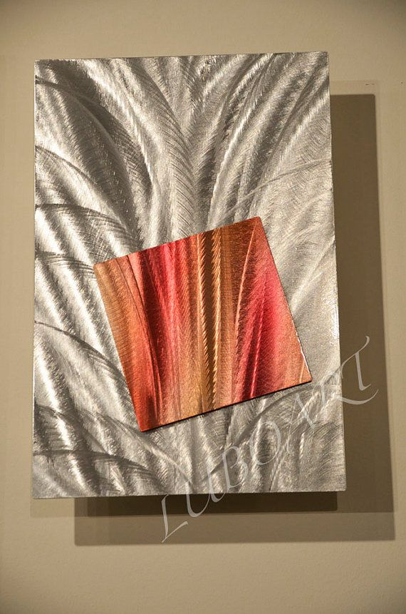Metal abstract contemporary art collage copper red painting original classy modern shiny brilliant unique wall decor original hand made Lubo