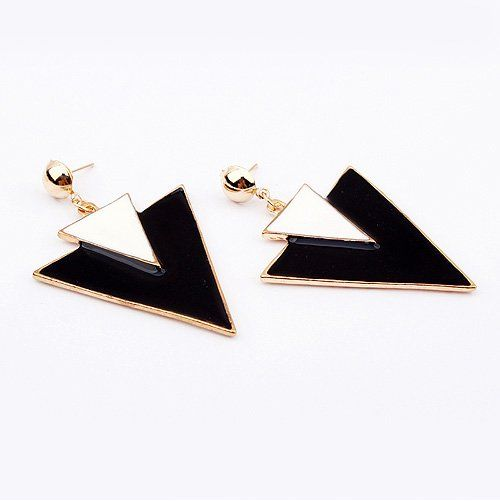 (Min order$10)Free shipping,Fashion Star fan delta in black and white all-match Earrings (Black)!#91318 on AliExpress.com. $1.76