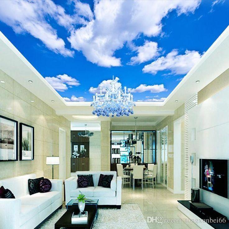 Blue Sky White Cloud Wallpaper Mural Living Room Bedroom Roof