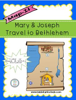 map for theBirth of Jesus and Joseph & Mary traveling to Bethlehem. In color & black & white @ www.biblefunforkids.com