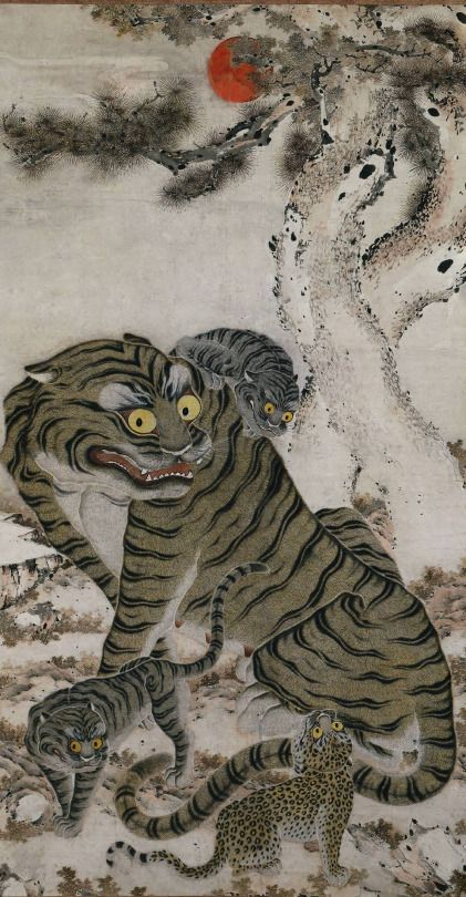 Korea, Choson period (1392-1910). Tiger Family (late 18th century), hanging scroll: ink and color on paper