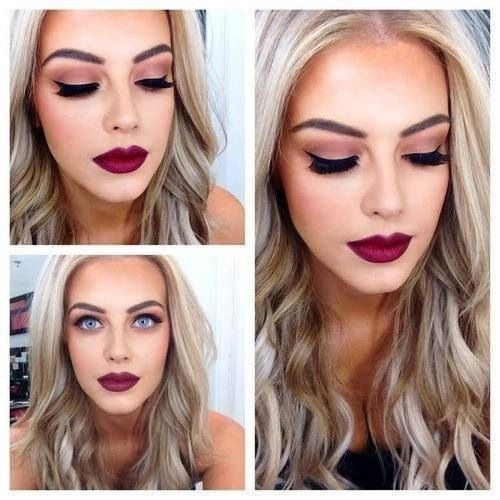 """I love the deep lip and bold brow but I feel like the eyes should be more bare with maybe just a hint of liner to keep the look from being too """"vampy"""""""