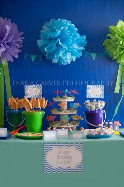 Mermaid and beach themed birthday party: Party'S, Birthday Parties, Beaches Theme, Sea Parties, Beaches Parties, Parties Ideas, Mermaids Parties, The Sea, Birthday Ideas