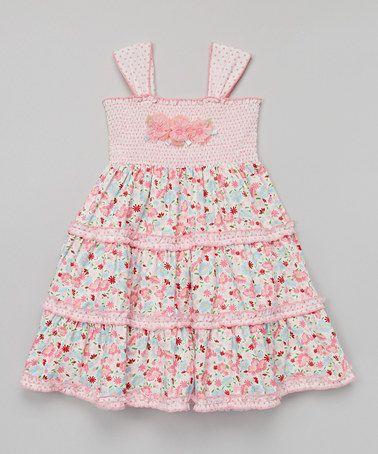 Look at this #zulilyfind! Pink Floral Shirred Dress - Toddler & Girls #zulilyfinds