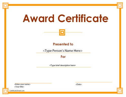 40 best Business Certificates Templates Awards images on - award certificate template for word