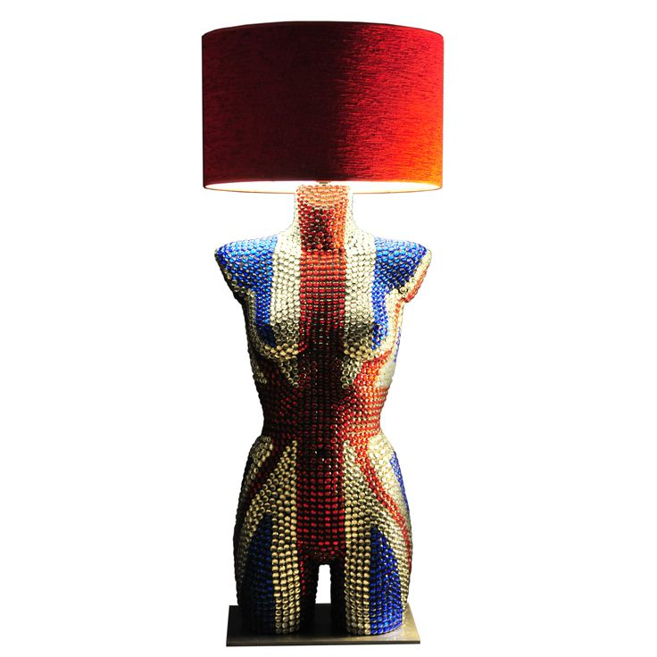 Mannequin Table Lamp with glass beads, UK flag style. Magestic Mannequin Lamps. Home of exclusive handmade life-size mannequins in art. See more new items from Magestic: https://www.magesticmannequins.com  #MannequinFloorLamps #Lighting #InteriorDeco #HomeDeco #InteriorLighting #BritishFlag #UKFlag #ArtLamp #mannequins #interiorlighting #tablelamp #mannequinlamp #lifesizemannequin #windowdisplay #interiorstyling #designer #designlife #homedecor #interiordesigner #artwork #decoration