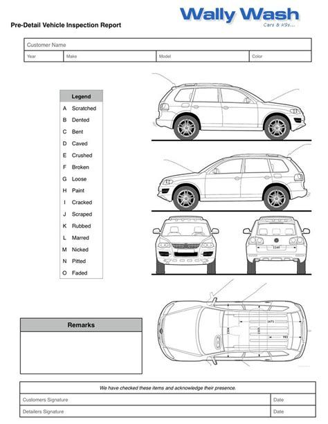 Image Result For Vehicle Damage Inspection Form Template Car Stuff