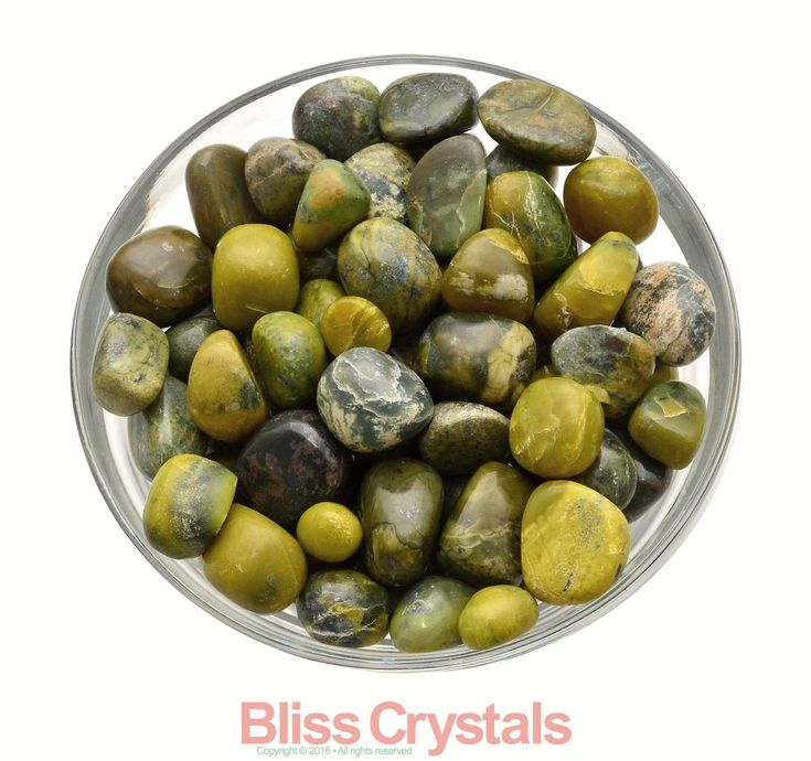 2 oz Parcel SERPENTINE Tumbled Stone Green Mixed Size (10-12 Stones) Crystal