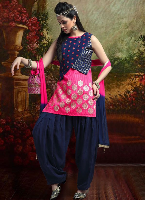 Cherry Pink and Navy Blue Readymade Patiala Suit