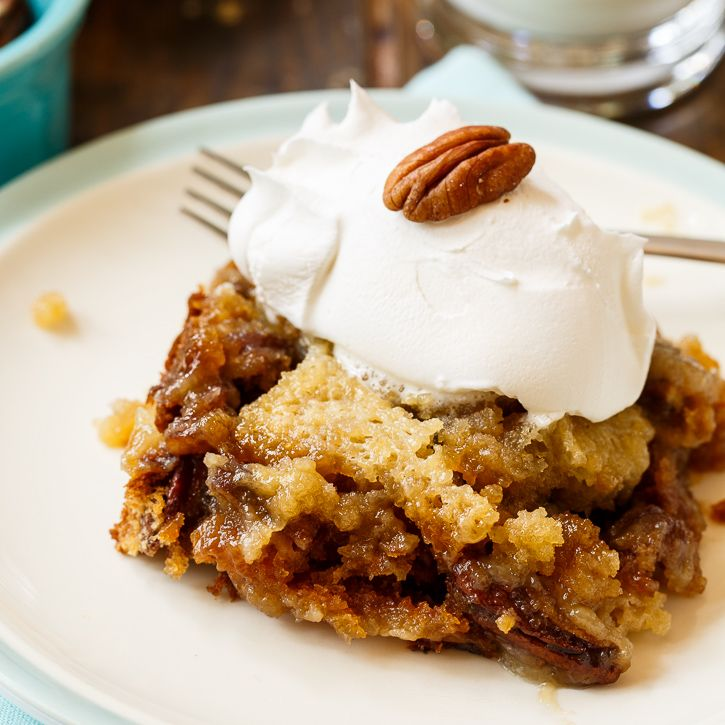 Pecan Pie Cake from Spicy Southern Kitchen is the most clicked recipe at Weekend Potluck #248. The perfect taste of fall.