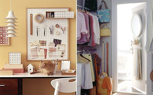 7 Places to Use Pegboard from Martha Stewart--- pegboard in a closet for hanging belts and purses