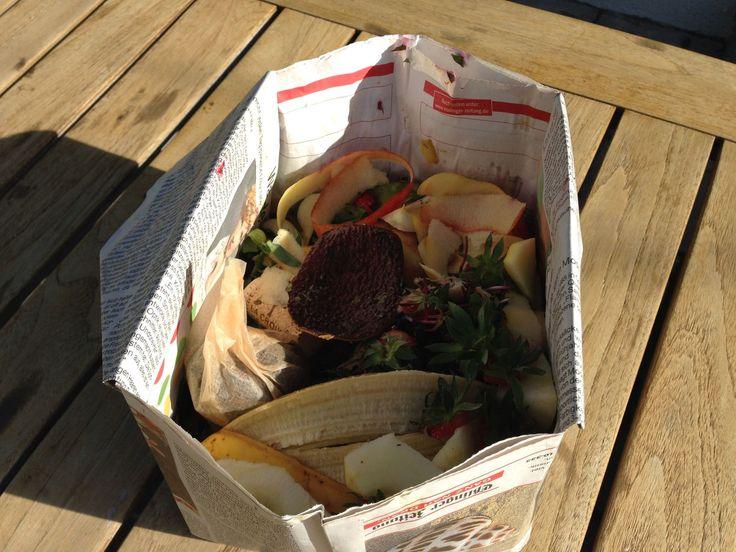 Biomüll-Behälter aus Zeitungspapier selber falten