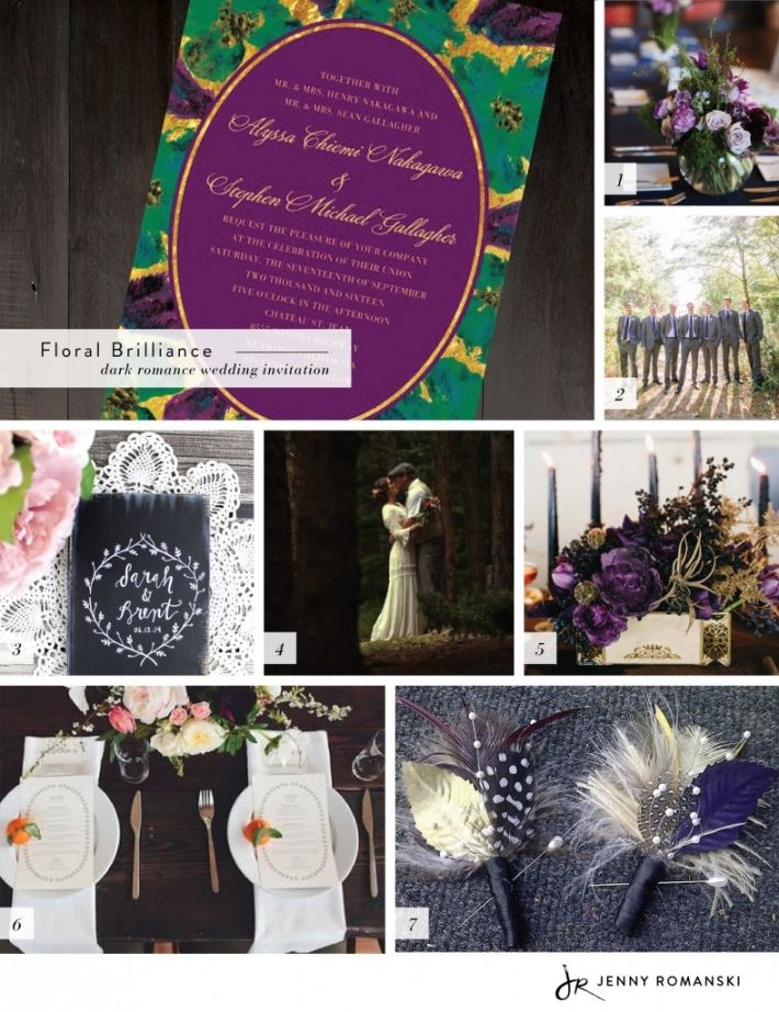 Dark Romance Wedding Inspiration. Find our Floral Brilliance design at Wedding Paper Divas