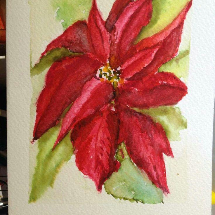 Flor roja acuarela en tarjeta para saludos.