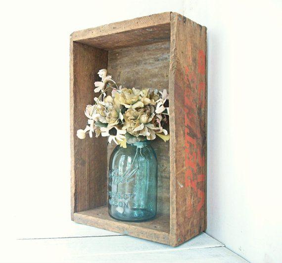 wooden boxes with aqua mason jars