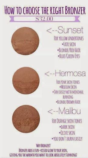 How do you choose the right Younique bronzer? Here is a helpful image to help you pick. #younique  youniquebyrachelle.com