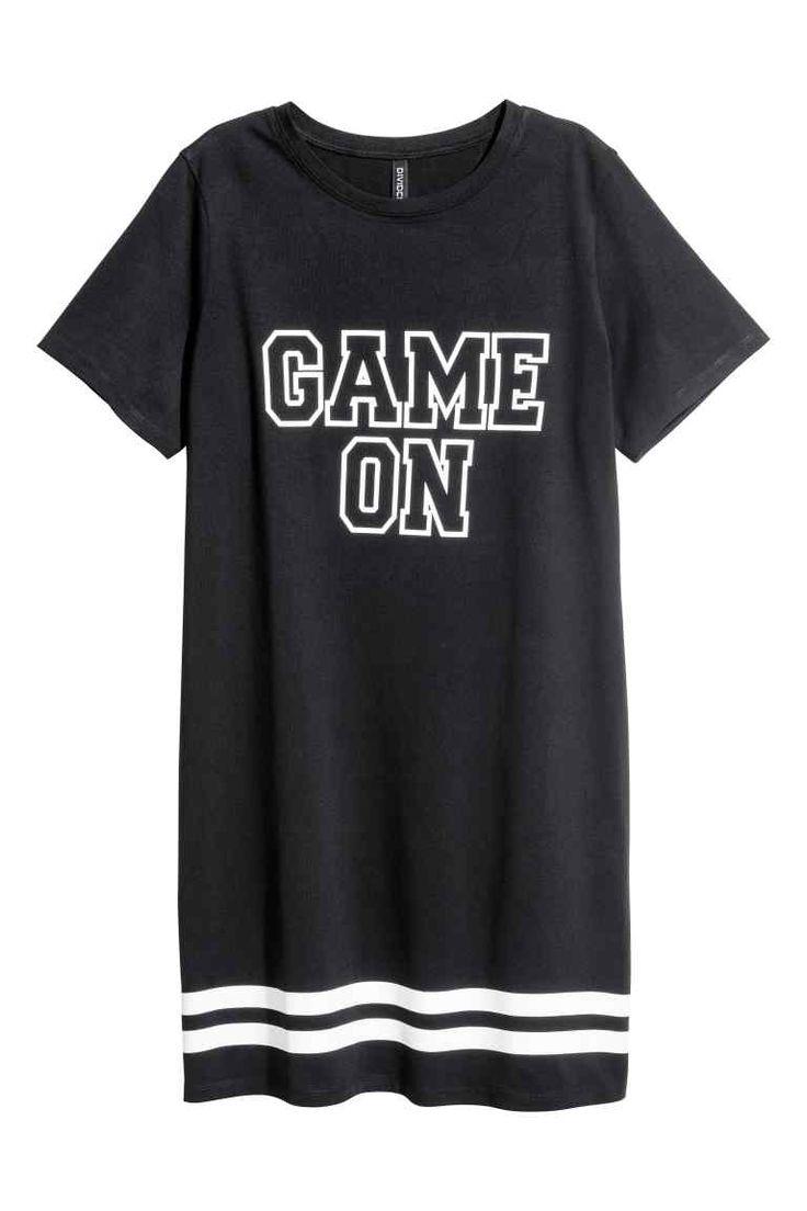 T-shirtjurk - Zwart/gestreept - DAMES | H&M NL