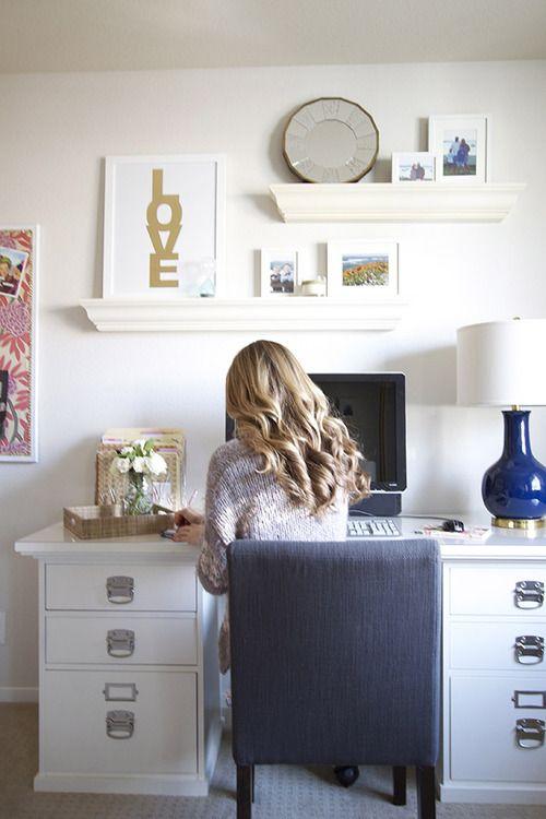 Wall shelves above desk