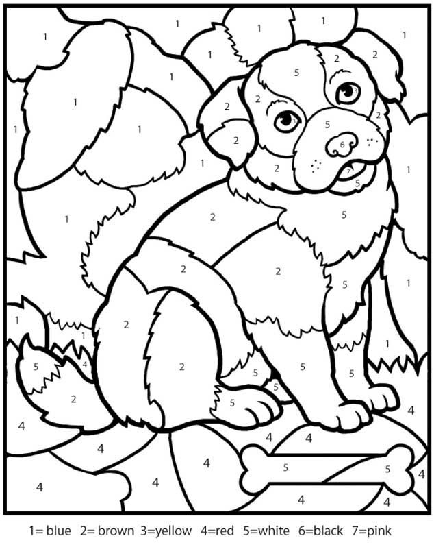 Kindergarten animals color by number counting numbers worksheets color by number puppy