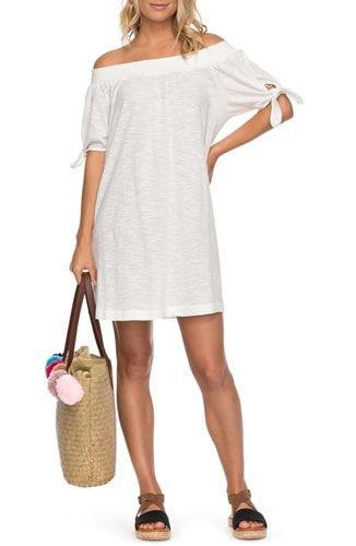 d6638ede68c1 New Roxy Bright Blue Sky Cotton Off the Shoulder Dress online. [$45]  favoritetophits offers on top store