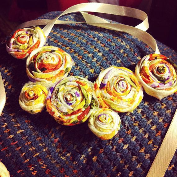 Vintage Fabric Flower Necklace