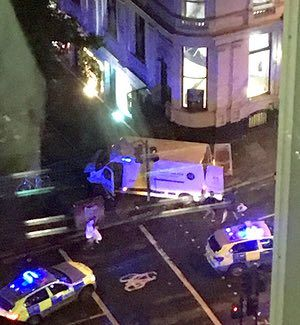 Our picture editor has sourced an image of the van thought to have struck pedestrians on London Bridge this evening.