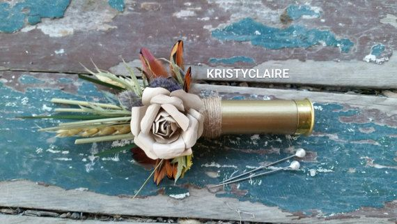Wildflower Gold ShotGun Shell Boutonniere by KRISTYCLAIRE on Etsy