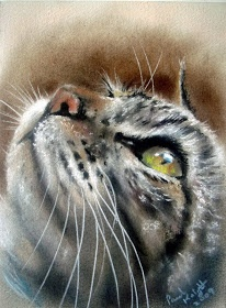 The artist captured the look of trust.  Blog of an Art Admirer: Pastel Paintings by Paul Knight. Cats