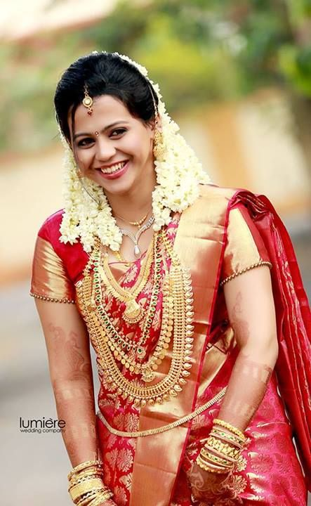 Bridal Red pattu saree Jewallary and Jasmine flowers