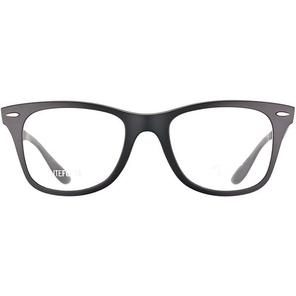 Ray-Ban RX 7034 5204 Matte Black Wayfarer Plastic Eyeglasses-52mm (2,805 MXN) ❤ liked on Polyvore featuring accessories, eyewear, eyeglasses, black, wayfarer glasses, ray-ban wayfarer, matte wayfarer, ray ban eyewear and matte glasses