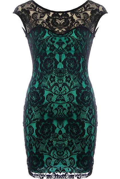 Veiled Mistress Dress: Mistress Dresses, Beautiful Colors, Lace Green, Black Laces, Cocktail Dresses, Lace Overlays, Black Lace Dresses, Lace Colors, Green Dresses