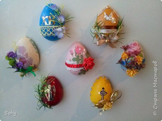 Поделка изделие Пасха магниты-яйца Гипс фото 1