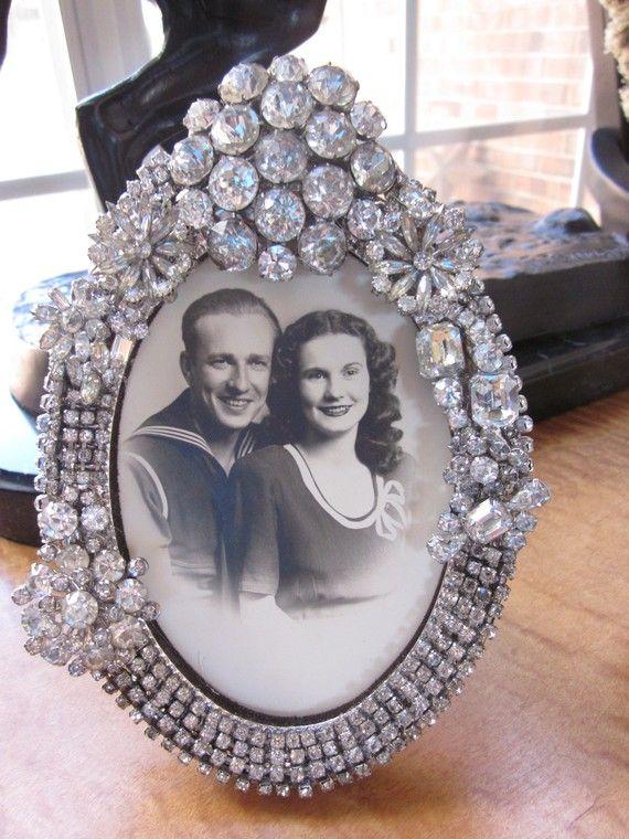 Vintage Rhinestone Jewelry Encrusted Picture by dJonVintageDesign