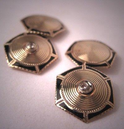 Antique Diamond Cufflinks Gold with Enamel Vintage Art Deco Era. $895.00, via Etsy.