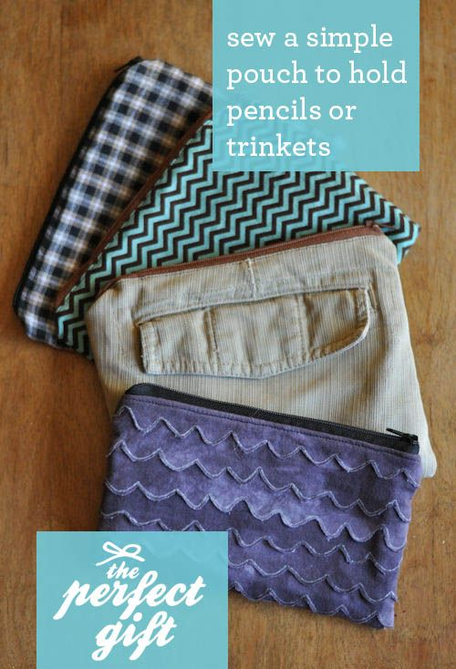Super Easy Tutorial for a Zippered Pouch. Only 5 lines of stitches!