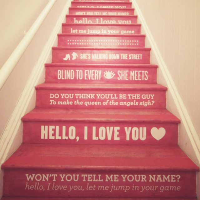 Staircases Hello, I Love You Lyrics   The Doors. New House Basement Stairs  Will Have Quotes! Love It!