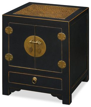 Ming Cabinet, Black With Light Brown
