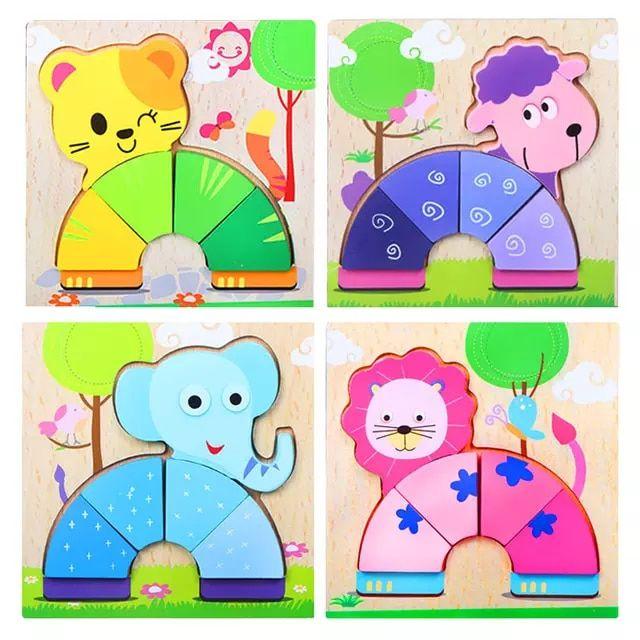 Rompecabezas De Madera 3d Juguetes De Madera Para Ninos De Dibujos Animados Animales Romp Juguetes Educativos Para Ninos Juguetes De Madera Juguetes Educativos