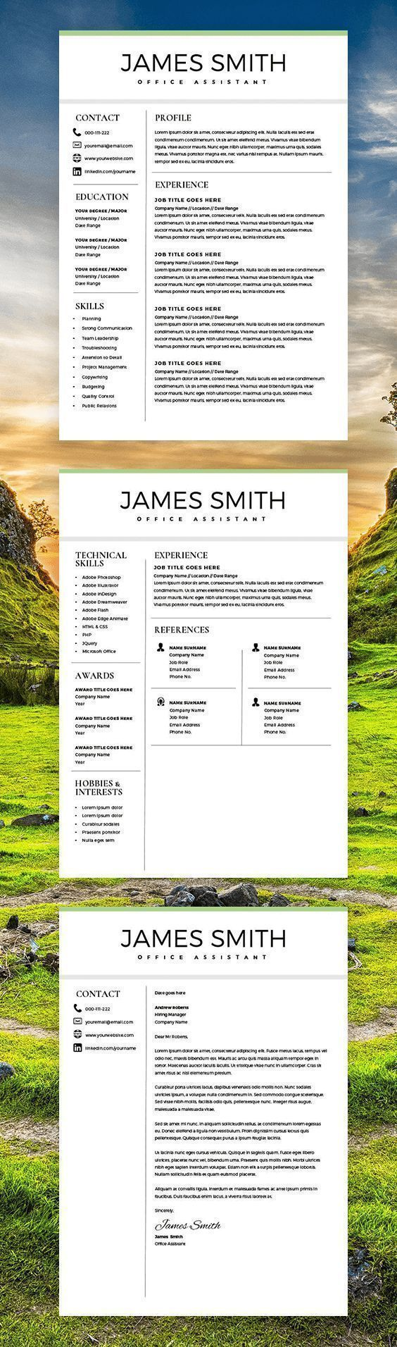 Classic Resume - Professional Resume Template for Word & Pages - 2 Pages Resume - Cover Letter - Curriculum Vitae - Instant Download - CV