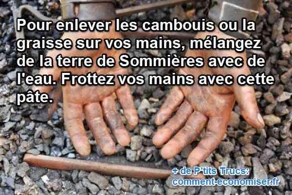 Rien de tel que la terre de Sommières, qui absorbe naturellement toutes les taches de graisse sur bien des surfaces et donc, aussi sur la peau. Regardez :-)  Découvrez l'astuce ici : http://www.comment-economiser.fr/taches-mains-sommieres.html?utm_content=buffer7fd14&utm_medium=social&utm_source=pinterest.com&utm_campaign=buffer