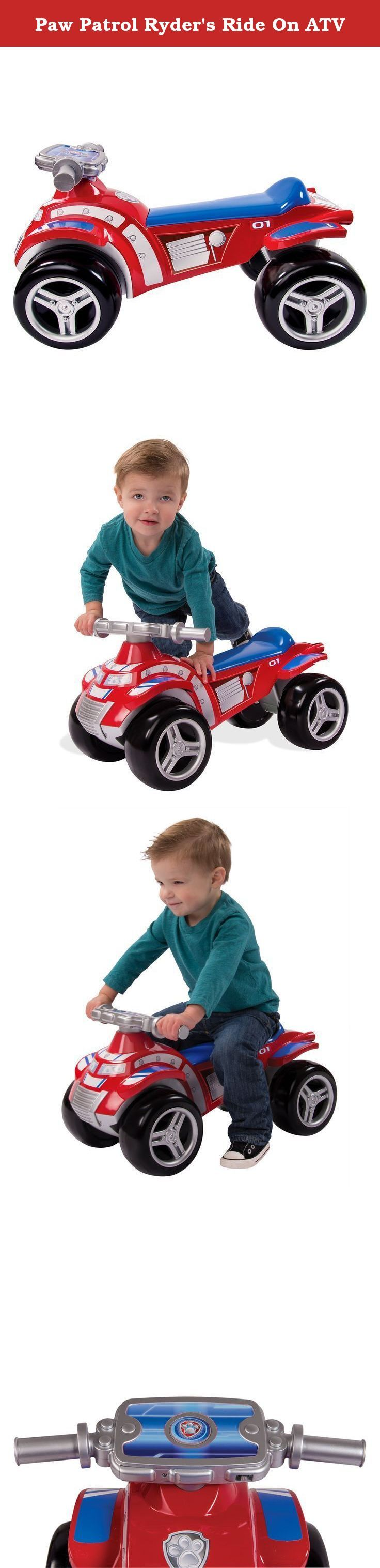 Paw Patrol Ryder's Ride On ATV. No job is too big, no pup is too small! Now kids can join the Paw Patrol Pups on a Paw Patrol Mission with Ryder's Ride On ATV! Just like in the show they can race to an emergency with the pups. It's as simple as sit, push and play! Kids can push themselves along with their feet as they embark on Paw Patrol missions. Whether there's a rescue mission in your backyard or you have to save Itty Bitty Kitty from a tree, they can race to the ruff-ruff rescue with...