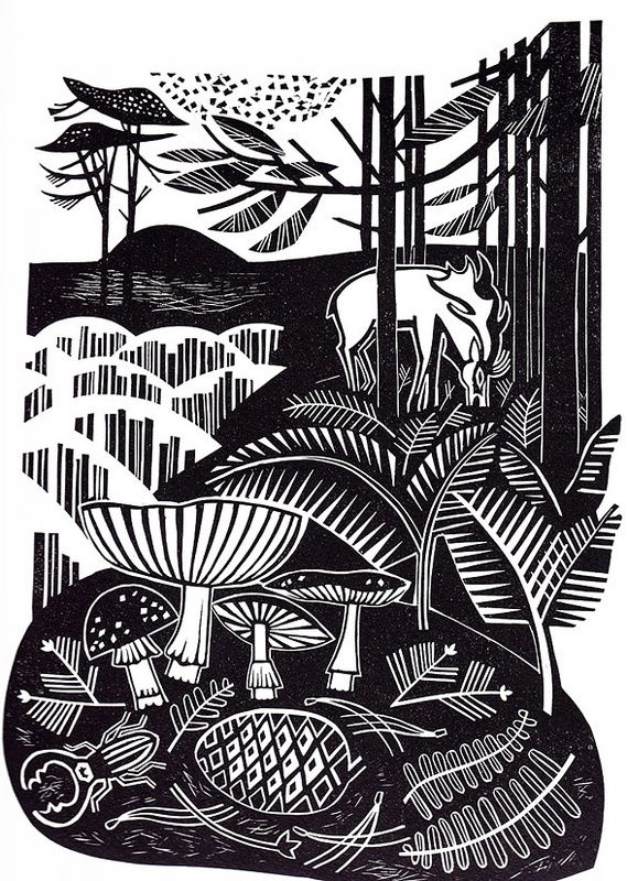 """Autumn Heath"" - Clare Curtis (Linocut)"