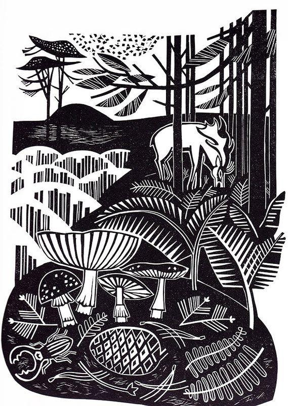 """""""Autumn Heath"""" - Clare Curtis (Linocut)"""