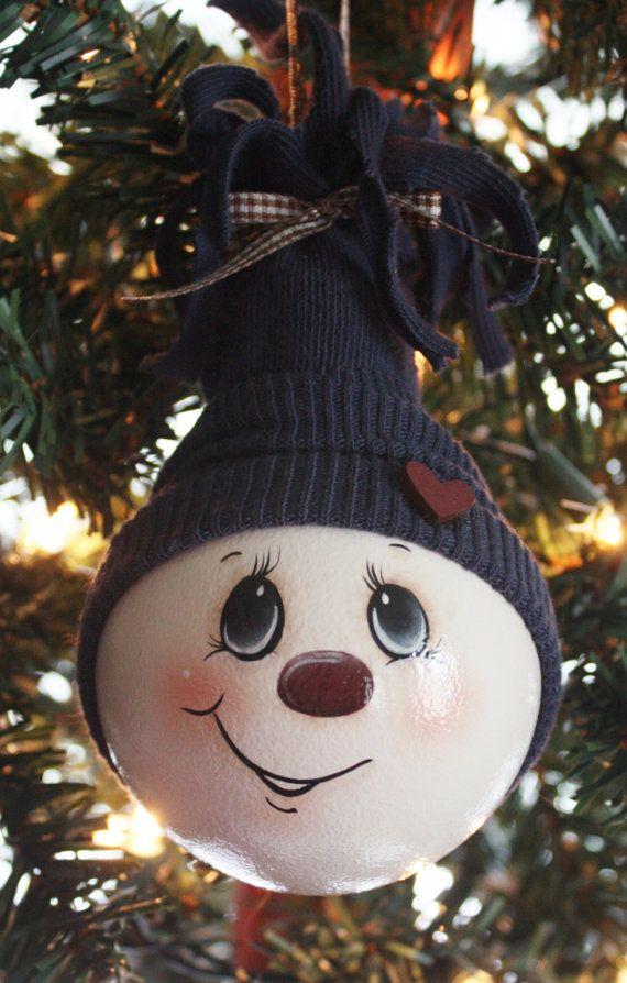 Handbemalt groß dunkelblau Ornament Schneemann Glühbirne