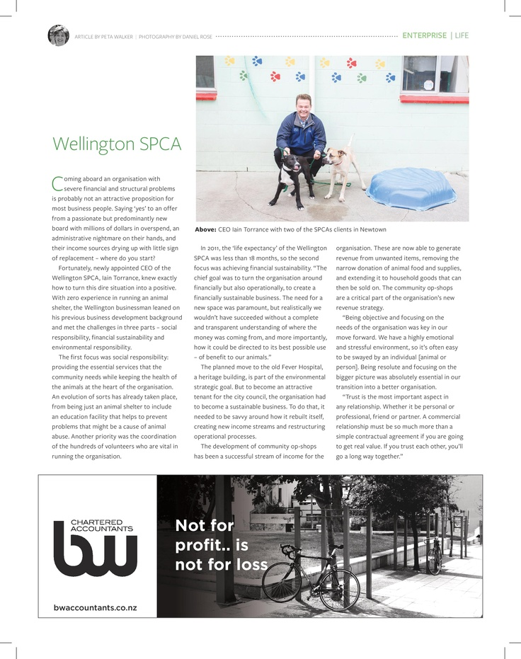 Our article in Fishhead Magazine May 2013 about the Wellington SPCA.