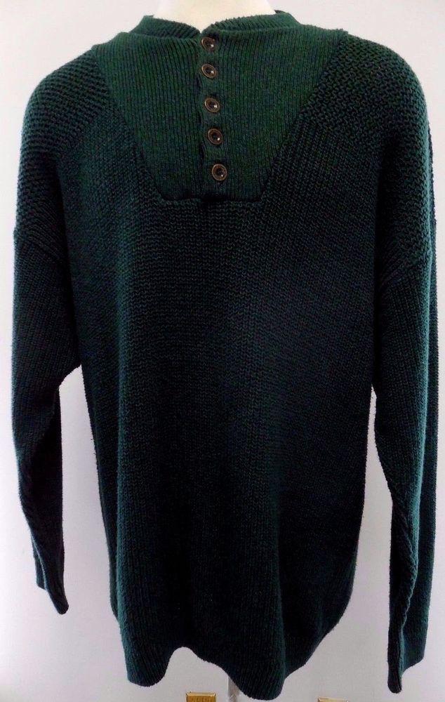 EDDIE Bauer VINTAGE Knit SWEATER Tall XL Green BUTTON ...