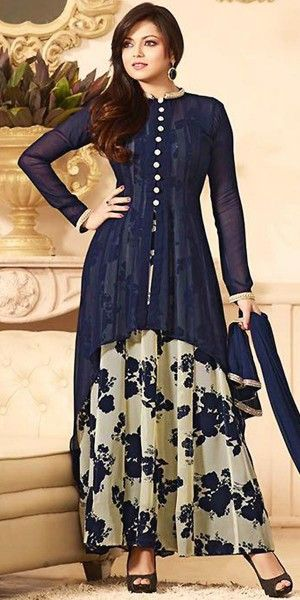 Madhubala Georgette Blue And Cream Anarkali Suit With Dupatta.