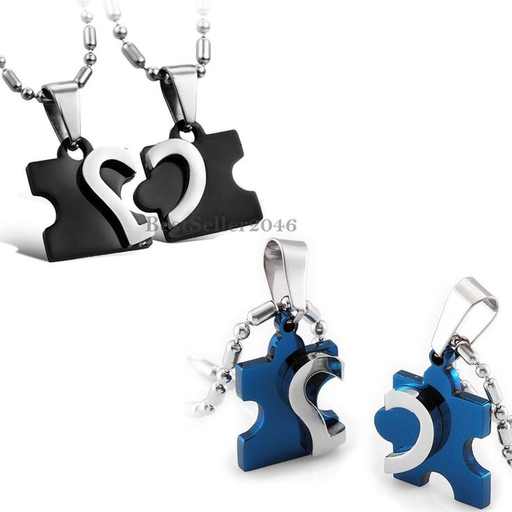 His and Hers Stainless Steel Love Heart Puzzle Men Women Couple Pendant Necklace #UnbrandedGeneric #Pendant