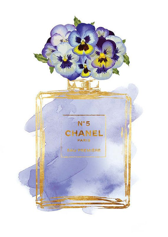 Printed Coco Chanel No5 print 8x10 gold effect & by hellomrmoon