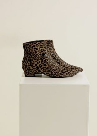 0fd24908bc658 Leopard-print leather ankle boots
